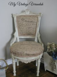 Burlap French Script Chair. Painted with Annie Sloan ...