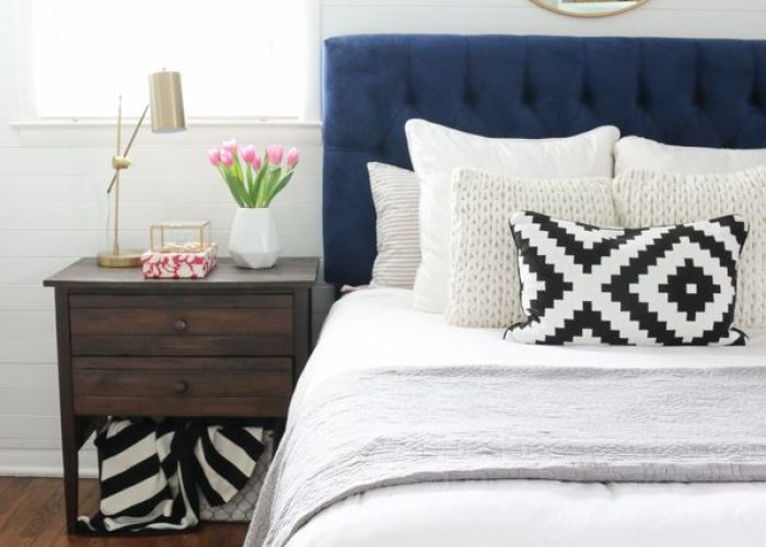 An inexpensive bedroom mirror navy headboardmirror headboardbedroom mirrorsgold bedroombedroom decornavy duvetwhite also headboard white duvet and uk
