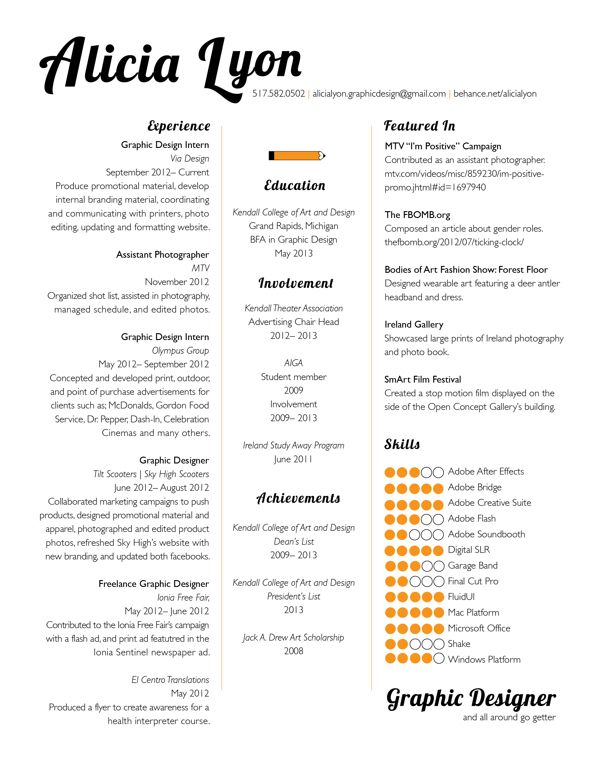Graphic Design Intern Resume Example - Template