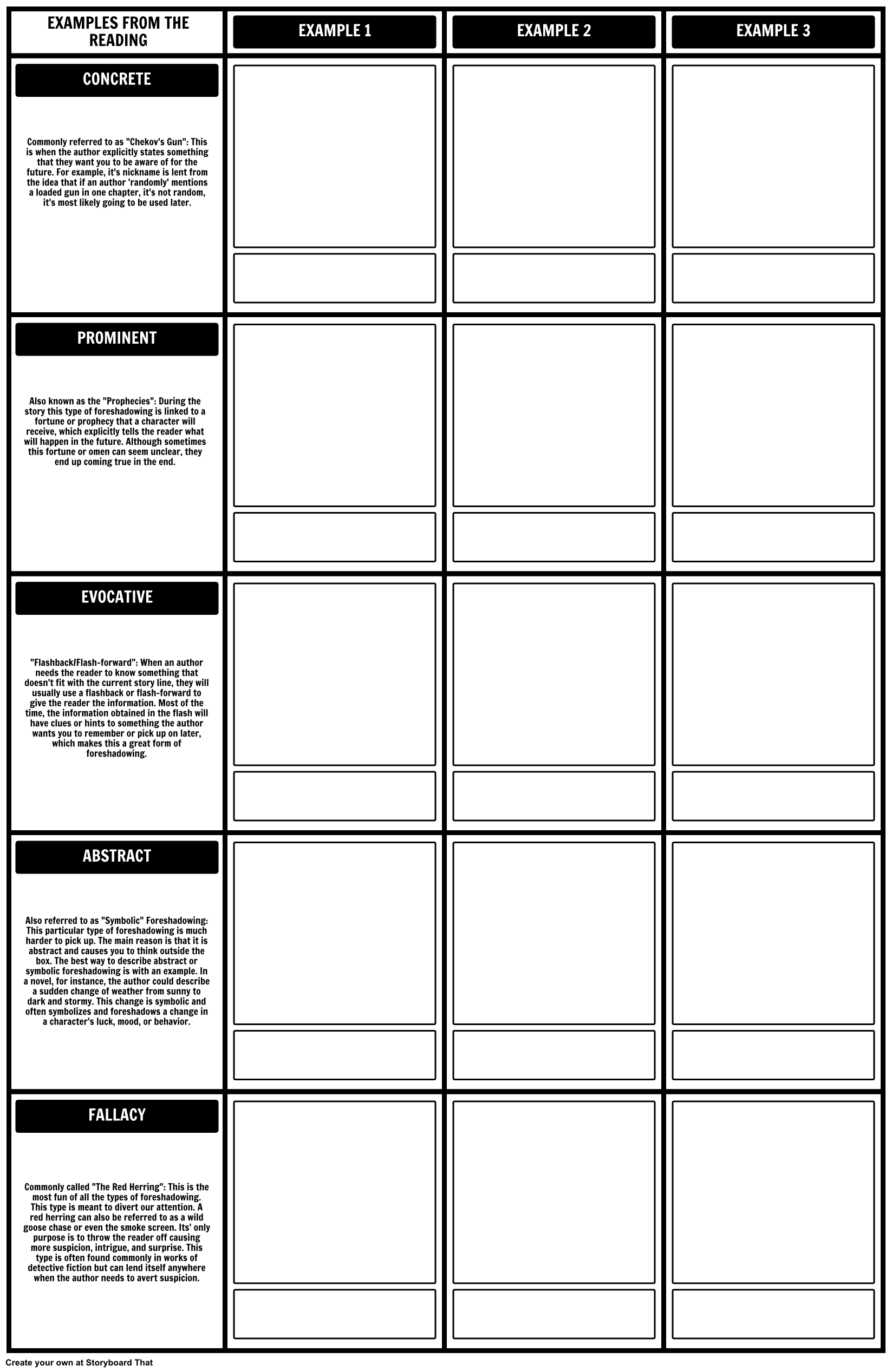 Our Foreshadowing Template Worksheet Was Made With Our Grid Layout