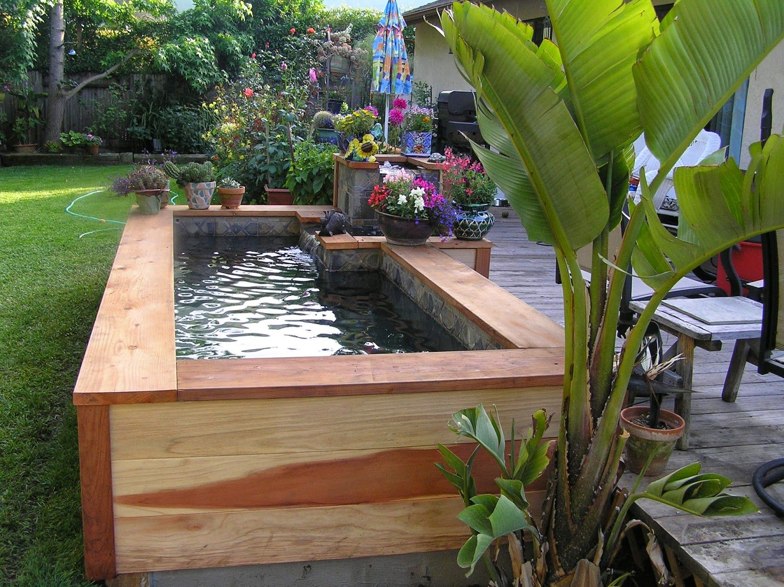 Small Fish Pond Wood Layered Backyard Design Ideas Pinterest