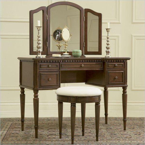 Powell Furniture Vanity Set In Warm Cherry Makeup