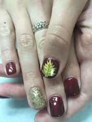 burgundy and gold with leaf