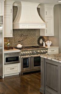 Gray and White Kitchen with Herringbone subway tile ...
