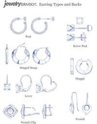 Earring Clasp & Back Types | Earrings | Pinterest ...