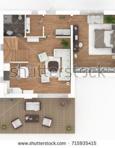 rendering of furnished home apartment top view balcony also rh pinterest