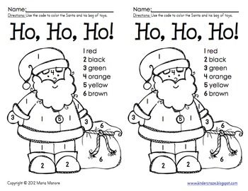 Color by Number Santa Coloring Pages Kids Pinterest