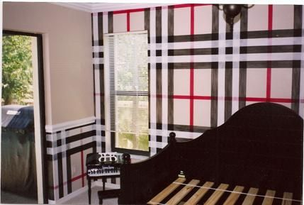 Plaid Walls Feels Like Burberry To Me! Love It! Home Ideas And