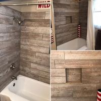 Custom Wood looking tile tub surround!