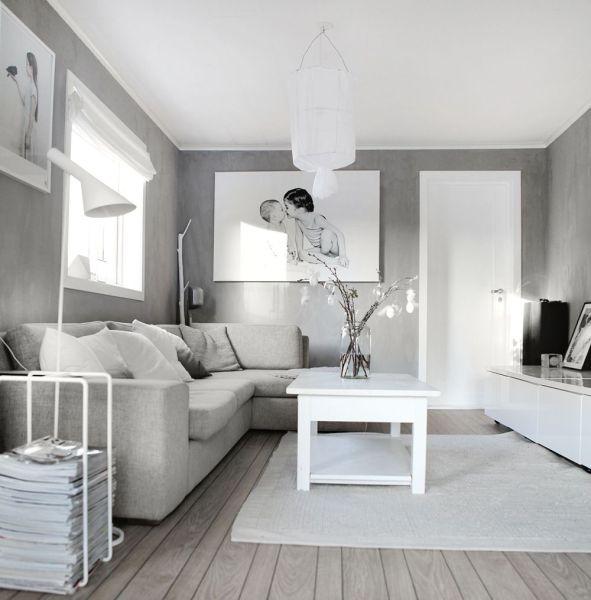 black white and gray living room 25 fotos de decoración de salas modernas pequeñas | Grey