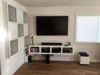 IKEA bookshelf converted to floating TV stand - Expedit ...