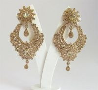 Long Gold Antique Rhinestone Earrings For Bridal Wedding ...