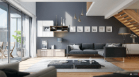 Apartments: Kreation Slate Gray Walls Deep Blue Sofa And