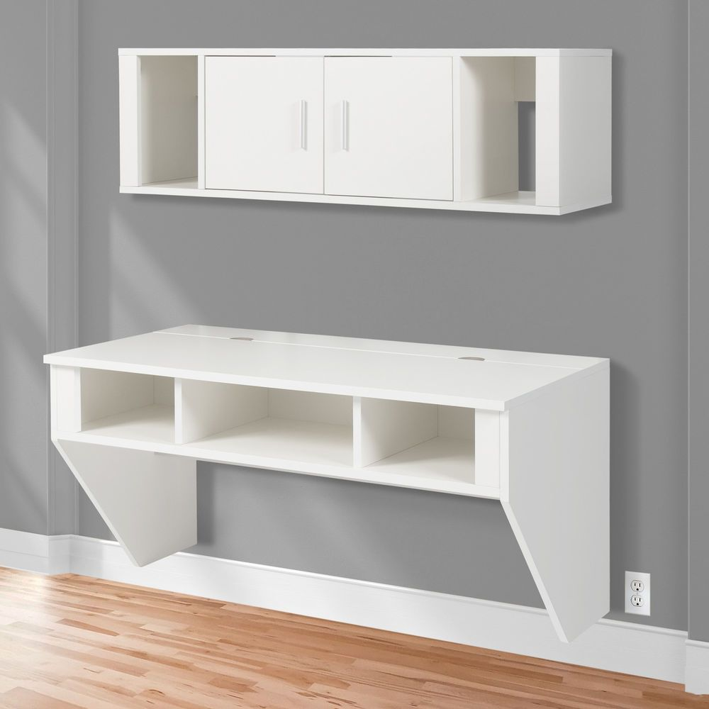 BCP Designer Floating Desk With Hutch White Finish Wall