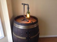 Black iron pipe and wine bottle table lamp. $95.00, via ...
