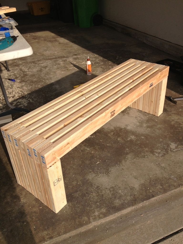 Exterior Simple Idea Of Long Diy Patio Bench Concept Made Of