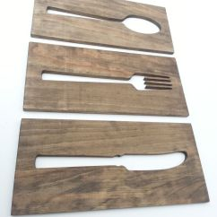 Wooden Signs For Kitchen Granite Art Plaque Fork Spoon Knife Home By