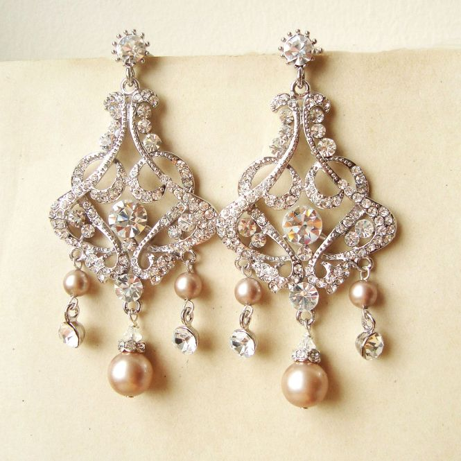 Champagne Pearl Chandelier Bridal Earrings Vintage By Luxedeluxe 88 00