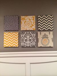 My fabric over canvas wall art for my gray and yellow ...