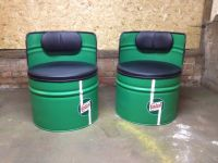Upcycled oil drums turned into seats in original castrol ...