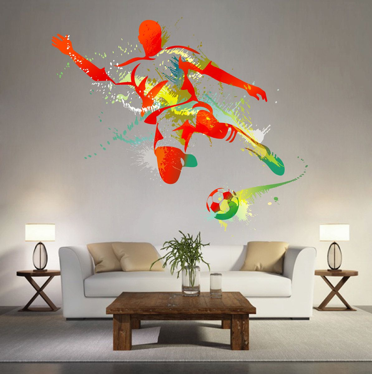kcik119 Full Color Wall decal soccer football ball sport