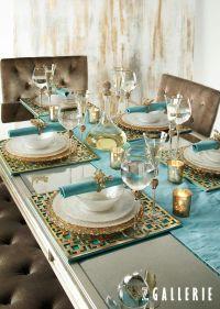 Turquoise + Gold ~ dining tablescape | Colour ~ Aqua ...