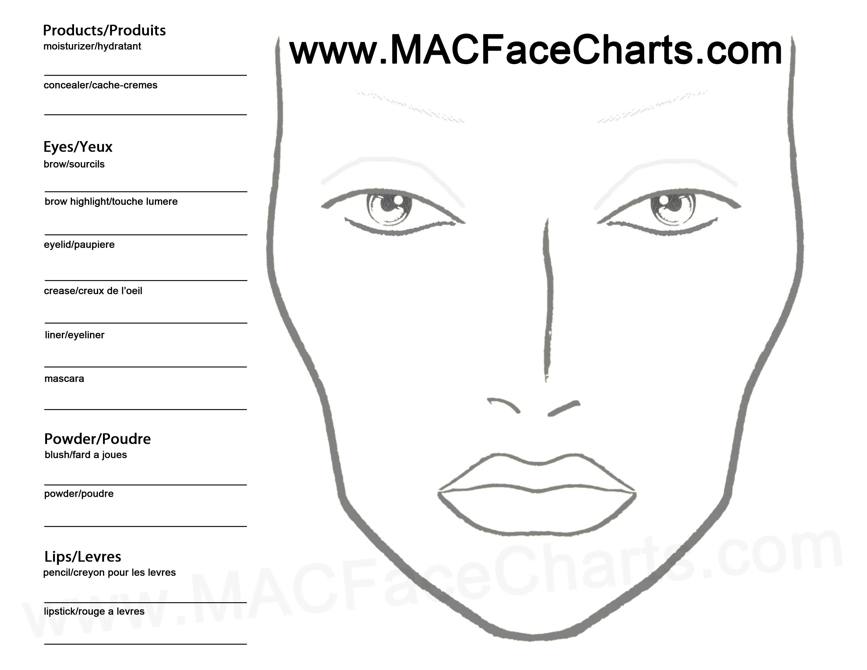 Use this face chart to create your own looks! Don't forget
