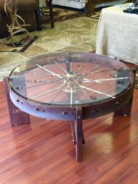 Wagon wheel coffee table Metal wagon wheel, black walnut ...
