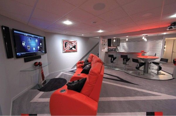 "Ultimate Basement Game Room ""This Viewing Area Features A 60"