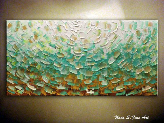 Teal original textured abstract painting turquoise wall art home decor modern large canvas hand made acrylic also rh pinterest