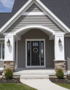 View this great traditional front door with exterior stone floors  pathway discover browse thousands of other home design ideas on zillow digs also golden white ledger panel gaf rh pinterest