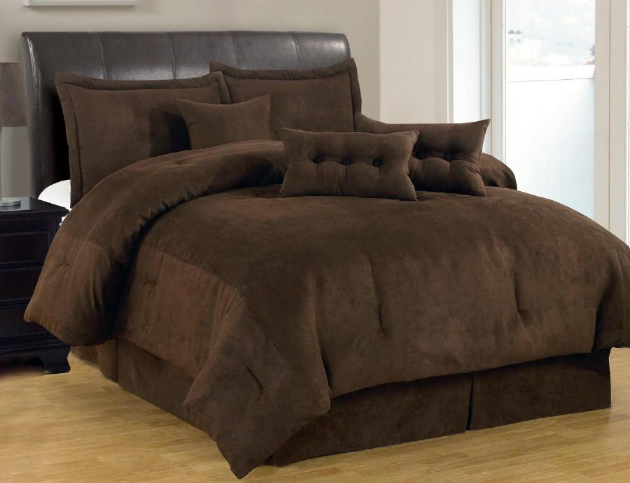 7-PC Solid Brown Comforter Set Micro Suede Queen Size Bed