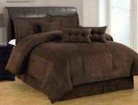 7-PC Solid Brown Comforter Set Micro Suede Queen Size Bed ...