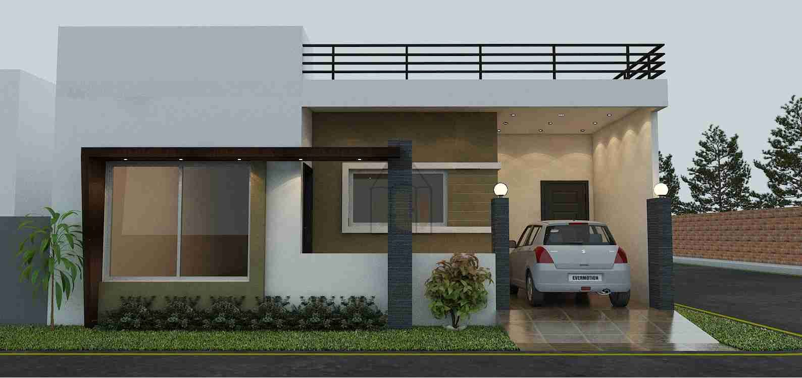 Bungalow Style Design Of A House Having Dimensions 60x112