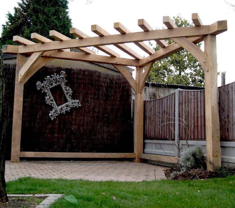 Details About OAK PERGOLA HANDMADE Corner Gazebo Wood Garden