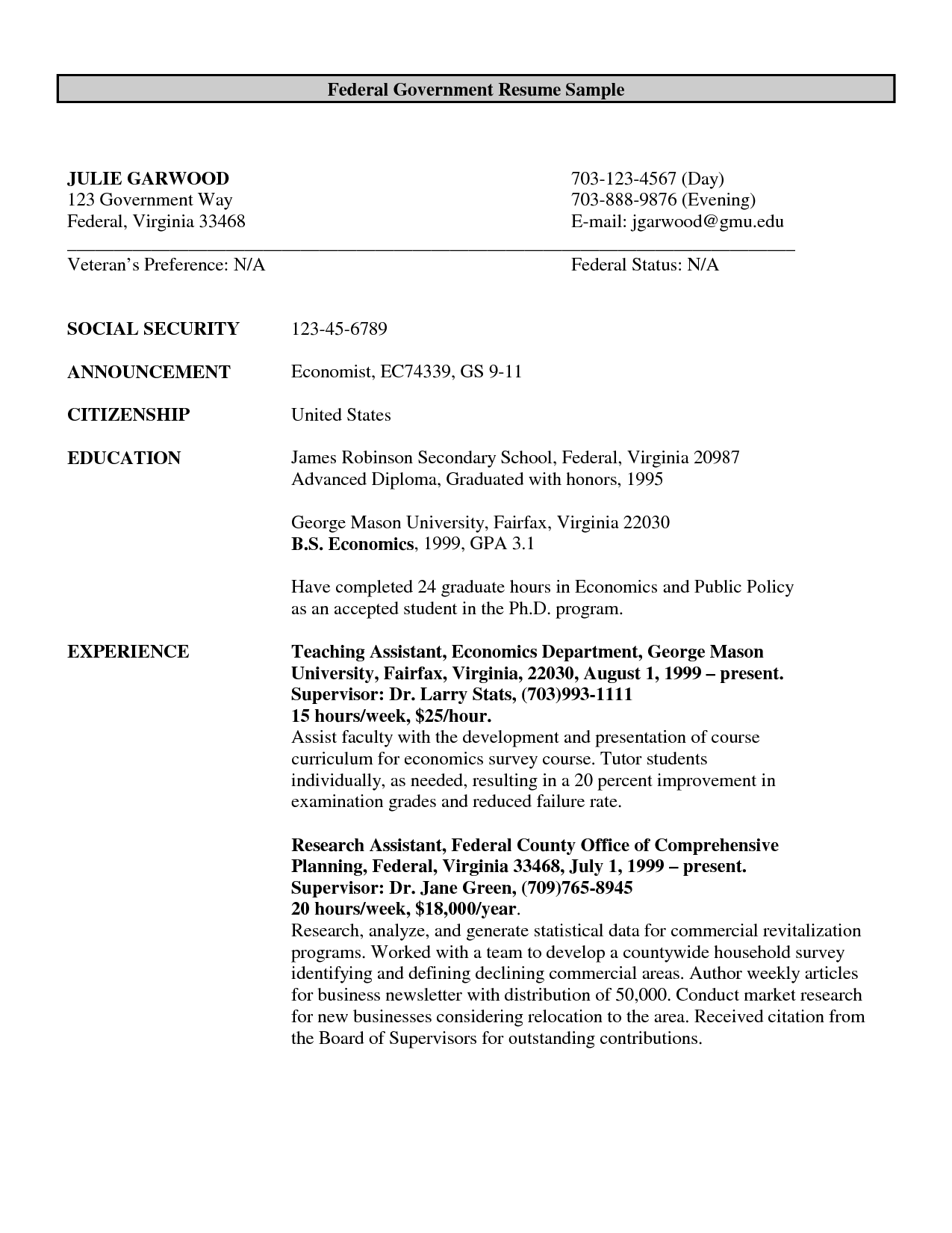 Sample Federal Government Resumes Federal Government Resume Example Http Www