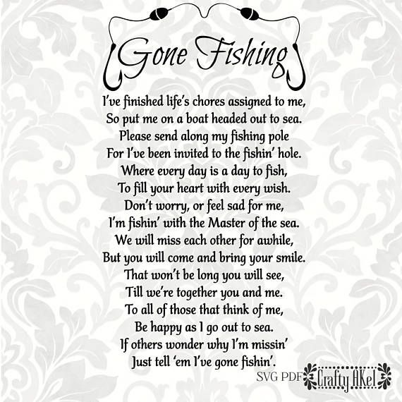 Gone Fishing Poem Bereavement svg Mourning svg Sympathy