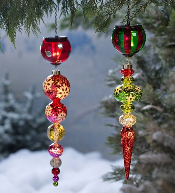 Outdoor Solar Christmas Tree Ornaments