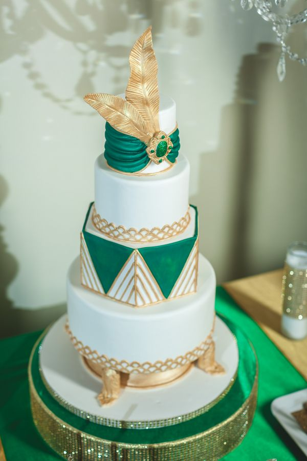 Unique Emerald Green Gold And White Wedding Cake