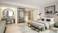 Luxury contemporary master bedroom suite with open plan ...