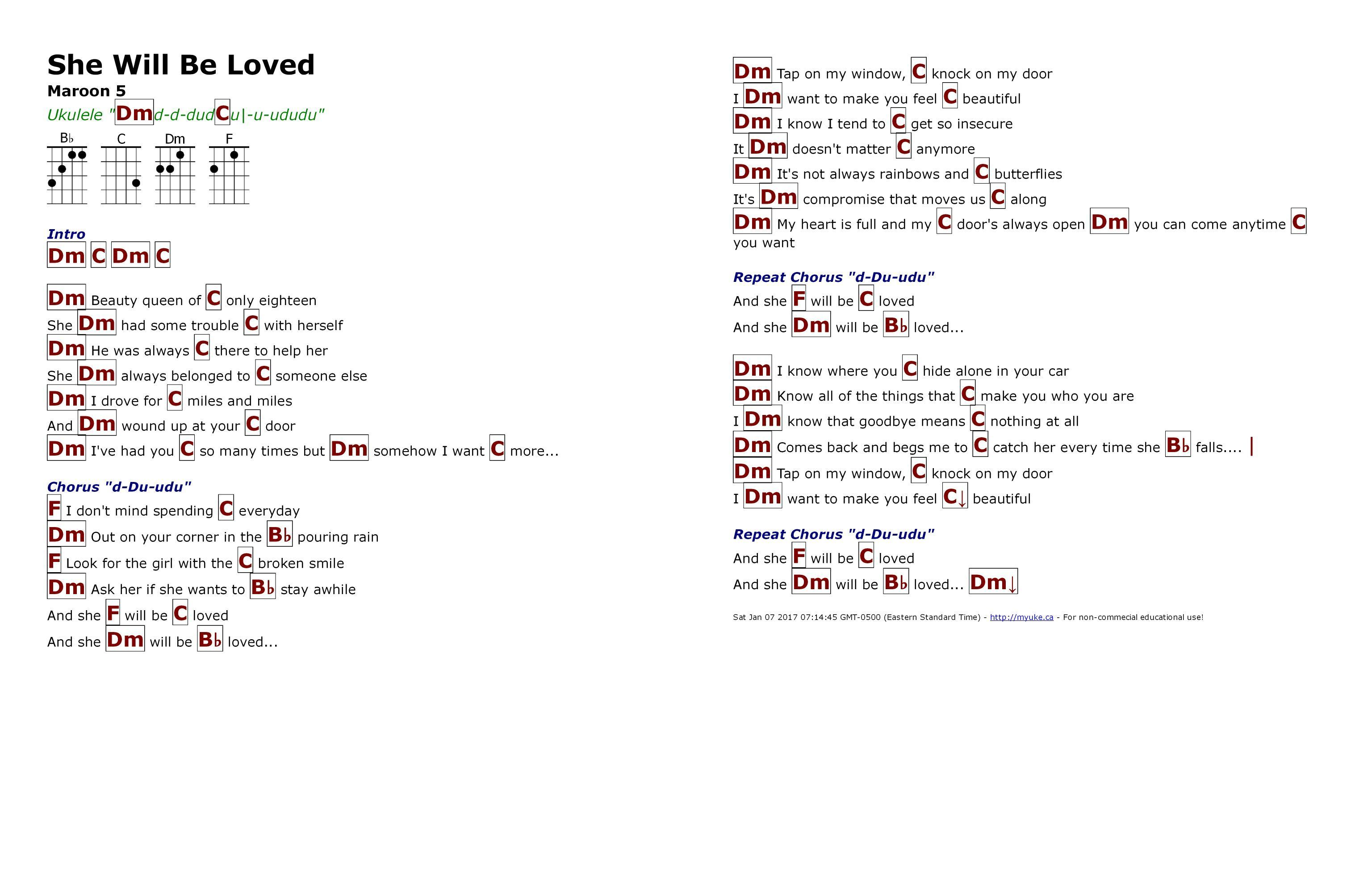 Maroon She Lyrics Loved Will Chords And Be 5