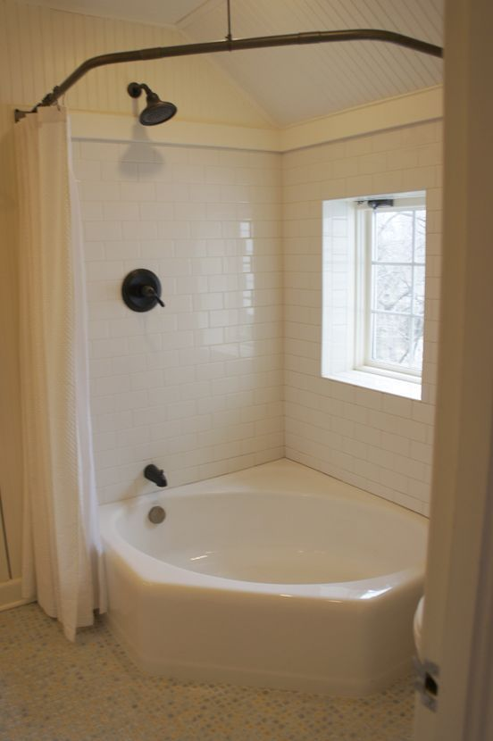 corner tub  corner tub with shower curtain  Round the