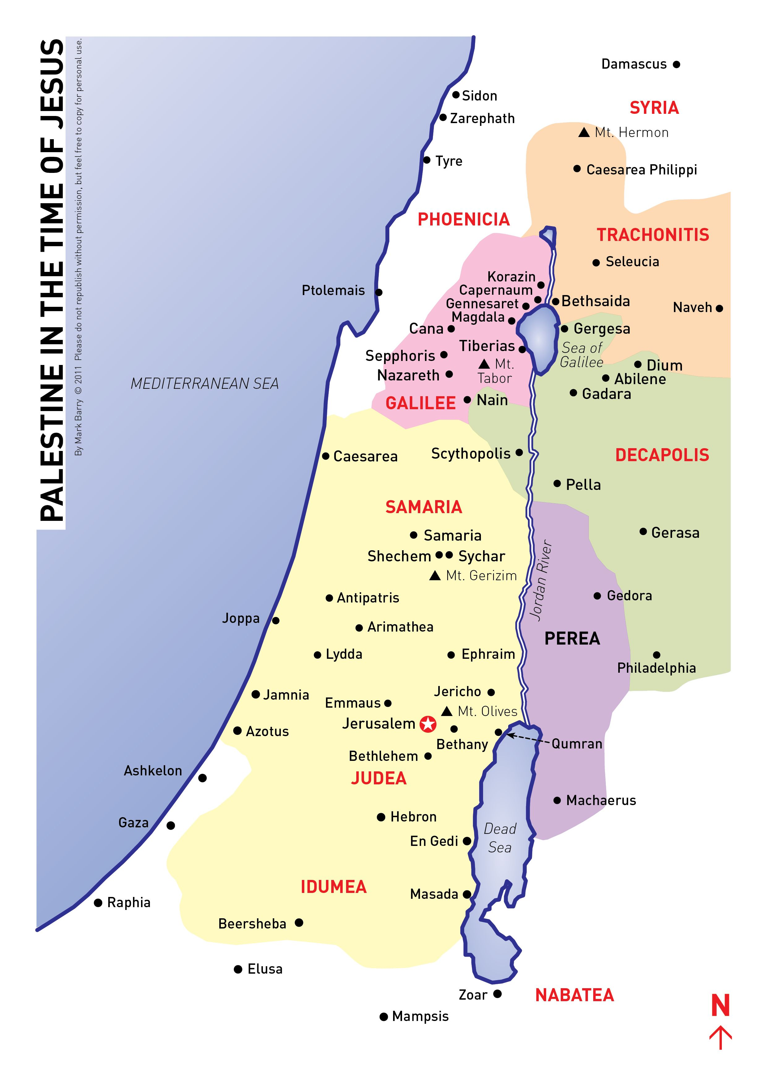 Map Of Israel In Jesus Time Compared To Today - Map of israel today