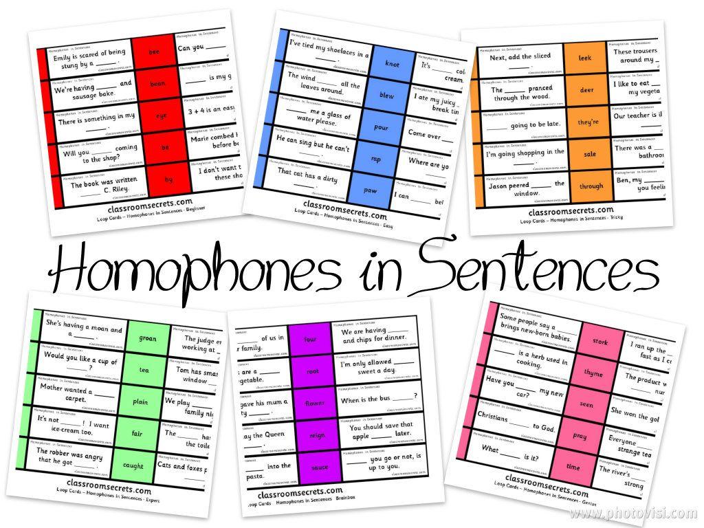 Homophones In Sentences Loop Cards Differentiated Six