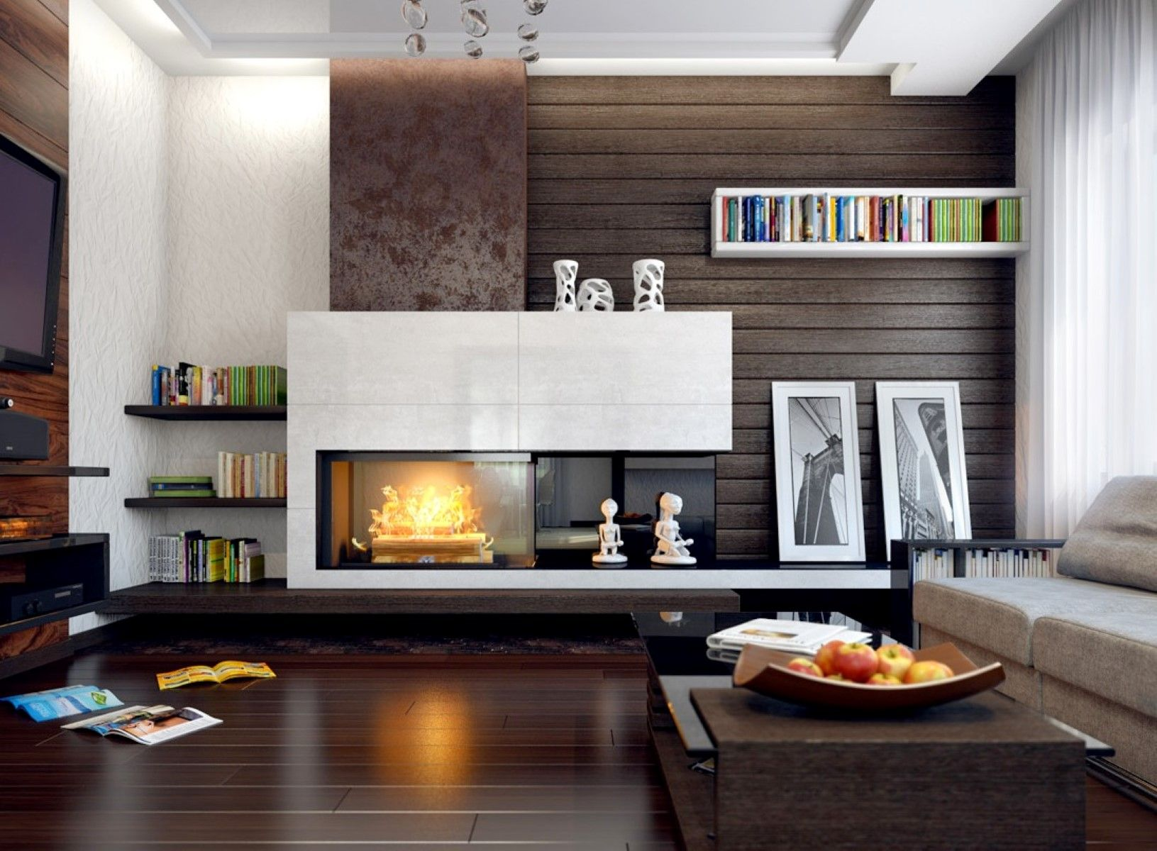 Modern Fireplace  Mantel Ideas  Living Room  Modern