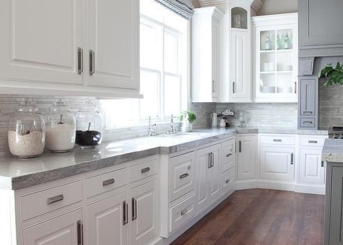 This is beautiful love the corner cabinet as well gray and white kitchen design also best images about remodel on pinterest granite ice