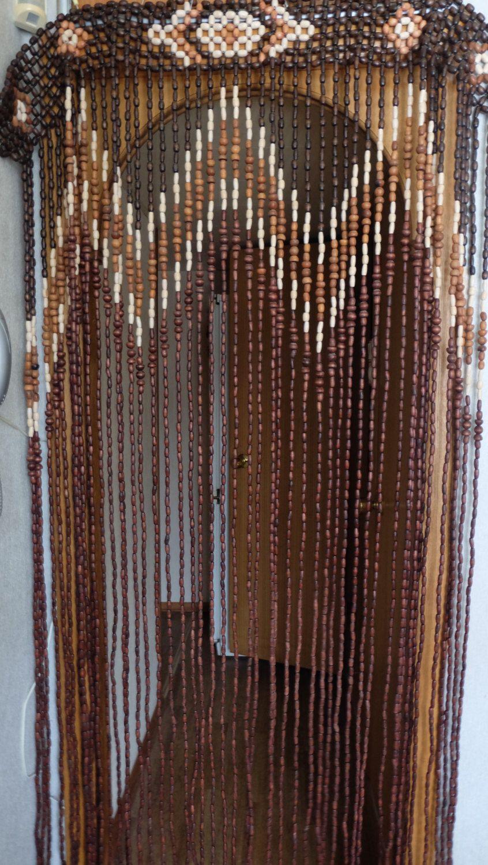 Vintage Wood Curtain, Door Beads, Beaded Curtains, Beaded