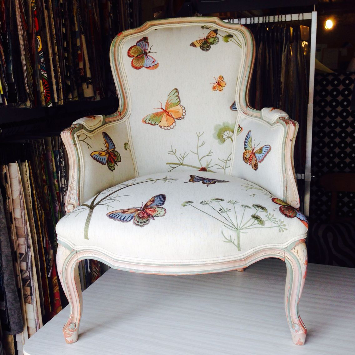 fabrics for kitchen chairs back support office chair bed bath beyond butterfly louis upholstered in our customer 39s own