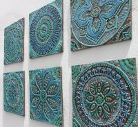 Decorative tile for outdoor wall art with circle design ...