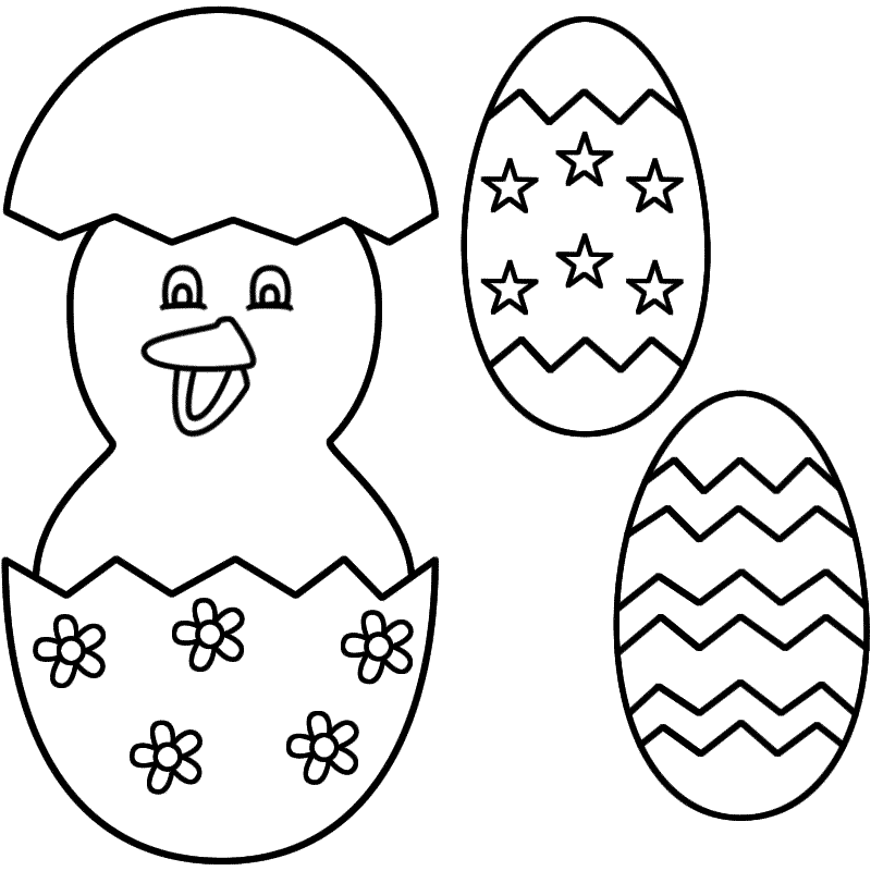Cute Easter Egg Chicken Decoration Printable Coloring